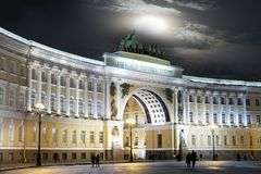 St. Petersburg. Russia. Palace Square and Arch of the General Staff Building in night illumination.  Stock Photos