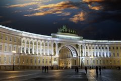 St. Petersburg. Russia. Palace Square and Arch of the General Staff Building in night illumination.  Stock Images