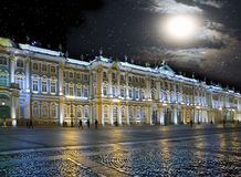 St. Petersburg. Russia. Palace Square and the Winter Palace in night illumination.  Stock Photography