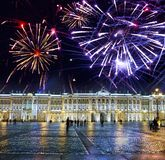 St. Petersburg. Russia. Palace Square and the Winter Palace in night illumination and Christmas fireworks.  royalty free stock image