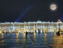 St. Petersburg. Russia. Palace Square and the Winter Palace in night illumination.  Royalty Free Stock Photo