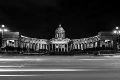Panorama of Cathedral of Our Lady of Kazan, Russian Orthodox Church in Saint Petersburg, Russia. Black and white. St Petersburg, Russia. Panorama of Cathedral of Royalty Free Stock Image