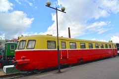 ST. PETERSBURG, RUSSIA. The Romanian railcar eight-wheel AB 758 costs at the platform Stock Image