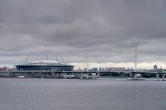 Krestovsky sports arena and suspension bridge Stock Photography
