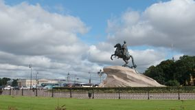 Peter The Great sculpture Horseman and people - Side view Royalty Free Stock Image