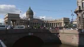 ST PETERSBURG, RUSSIA: Time-Lapse of The Kazan cathedral people walk on the Nevsky street stock video footage