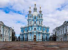 St. Petersburg, Russia, 2019-04-13: Smolny Cathedral stock photos