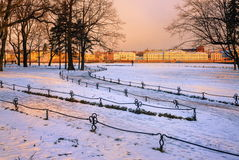 St Petersburg, Russia. Snow covered garden in the center of St Petersburg, Russia royalty free stock photos