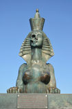 ST. PETERSBURG, RUSSIA.  A sphinx with the person half in the form of a skull and a female figure Stock Images