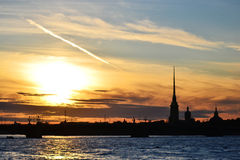 St. Petersburg, Russia at sunset Royalty Free Stock Images