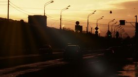 St. Petersburg Russia sunset road. Backlit. St. Petersburg Russia sunset road. Backlit with sunflares stock video footage