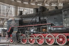 03.05.2019 St. Petersburg Russia transport Museum. Exhibition of Railway locomotives of the 19th century. royalty free stock images