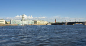 St. Petersburg, Russia. University quay of river Neva, building of Academy of science, 1783-1789, and Museum of Anthropology and ethnography (cabinet of Royalty Free Stock Photo