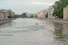 ST. PETERSBURG, RUSSIA. A view of Fontanka River in cloudy summer day Royalty Free Stock Images