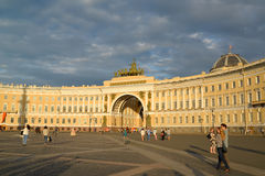 ST. PETERSBURG, RUSSIA.View of the General Staff Building and Palace Square at sunset Stock Images