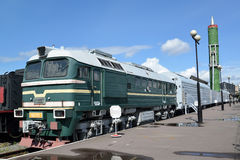 ST. PETERSBURG, RUSSIA. A view of a locomotive of DM62-1731 and the fighting railway  missile system with the intercontinental bal Royalty Free Stock Images