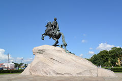 ST. PETERSBURG, RUSSIA. A view of a monument to Peter I `Bronze Horseman` in sunny day Stock Image
