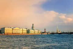 St Petersburg, Russia. View over Neva river, on sunset. St Petersburg, Russia royalty free stock photography