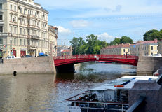 ST. PETERSBURG, RUSSIA. A view of the Red bridge in summer sunny day Stock Photo