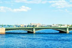 St Petersburg, Russia. The water area of the Neva river and Trinity bridge, travel landscape of St Petersburg. St Petersburg, Russia. View to the water area of royalty free stock photo