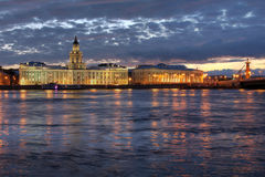 St Petersburg, Russia. Waterfront along the Neva River in St Petersburg, Russia at twilight, featuring Kunstkammer (Kunstkamera) Museum, the Zoological Museum Royalty Free Stock Image
