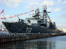 St. Petersburg, Russia - YULY 27: anti-submarine ship on the fea Royalty Free Stock Photo