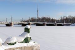 ST PETERSBURG, RUSSIE - 24 janvier 2019 : Le sphinx au pont de Kamennoostrovsky images stock
