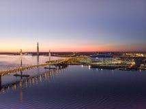 St Petersburg, Russie Vues a?riennes au Golfe Finlande Si?ges sociaux de Gazprom de centre de Lakhta de gratte-ciel Z?nith de sta photographie stock