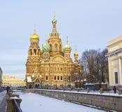 St. Petersburg, Russland, Auferstehungskathedrale des Retters auf blo Lizenzfreie Stockbilder