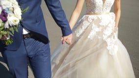 St Petersburg, Russland-Braut und Bräutigam, die entlang gehen die Braut und der Bräutigam gehen auf das Quadrat nahe dem Winter  Stockbild