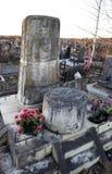 St. PETERSBURG, RUSSLAND - 27. DEZEMBER 2015: Foto des Monuments am Grab des Linguisten Knorozov Lizenzfreies Stockfoto