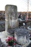 St. PETERSBURG, RUSSLAND - 27. DEZEMBER 2015: Foto des Monuments am Grab des Linguisten Knorozov Stockfotos