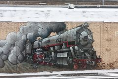 St. PETERSBURG, RUSSLAND - 24. FEBRUAR: Graffiti auf einer Wand über die finnische Station, RUSSLAND - 24. Februar 2017 Stockbild