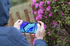 St Petersburg, RUSSLAND -02 im Mai 2019: Neue k?hle Konzepttelefon Samsungs-Falte auf dem Schirm eines Handys stockbild