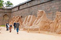St Petersburg Russland Leute auf dem Sand-Festival Lizenzfreies Stockfoto
