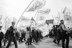St Petersburg, Russland - 1. Mai 2015: Maifeiertagsdemonstrationen Pol Stockfotografie