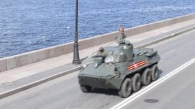 St Petersburg, Russland am 8. Mai 2019 milit?rische Ausr?stung an der Wiederholung der Parade zu Ehren Victory Days am 9. Mai stock footage