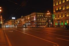 St. Petersburg, Russland Nachtansicht von Nevsky-Allee Stockbild