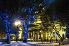 St Petersburg Russland Plakat von russischen Städten Vektorversion in meinem Portefeuille Heilig-Isaac `s Kathedrale Neues Jahr i stockbild