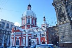 St Petersburg Ryssland, Februari, 27, 2018 Kyrka av den stora martyren och botemedelen Panteleimon på gatan Pestel, 2 a St Peter arkivbild