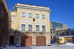 St Petersburg Ryssland, Februari, 27, 2018 Monumentet av arkitektur - firehouse 17, 1906 år som byggs Garnisonklubba av EMERCOM Arkivfoto