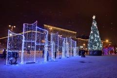 St Petersburg Ryssland - Januari 02, 2017: Julgran och Fotografering för Bildbyråer