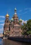 St Petersburg Ryssland - Juni 17, 2017: Kyrka av frälsaren på spillt blod Arkivbild