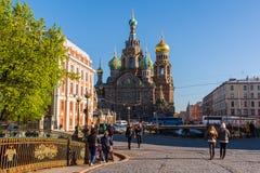 St Petersburg Ryssland - Juni 04 2017 Kyrkan av frälsaren på det spillda blodet Royaltyfria Bilder