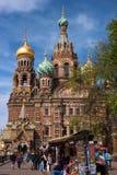 St Petersburg Ryssland - Maj 14, 2016: Kyrka av frälsaren på spillt blod okhtinsky petersburg russia för bro saint Arkivfoton