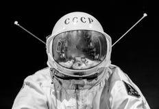 St Petersburg Ryssland - Maj 13, 2017: Rysk astronautspacesuit i St Petersburg utrymmemuseum Royaltyfri Bild
