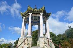 St Petersburg Ryssland - September 3, 2013 - paviljong i den kinesiska stilen på Catherine Park Pushkin (Tsarskoye Selo) Arkivbild