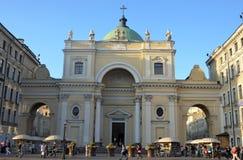 St Petersburg Ryssland - September 1, 2013: St Catherine Roman Catholic Church som byggs av Vallin de la Mothe på Nevsky Prospekt Royaltyfria Foton