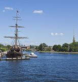 St. Petersburg, sailing ship on river Neva Stock Image