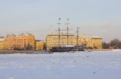 St. Petersburg, sailing ships in winter Stock Image